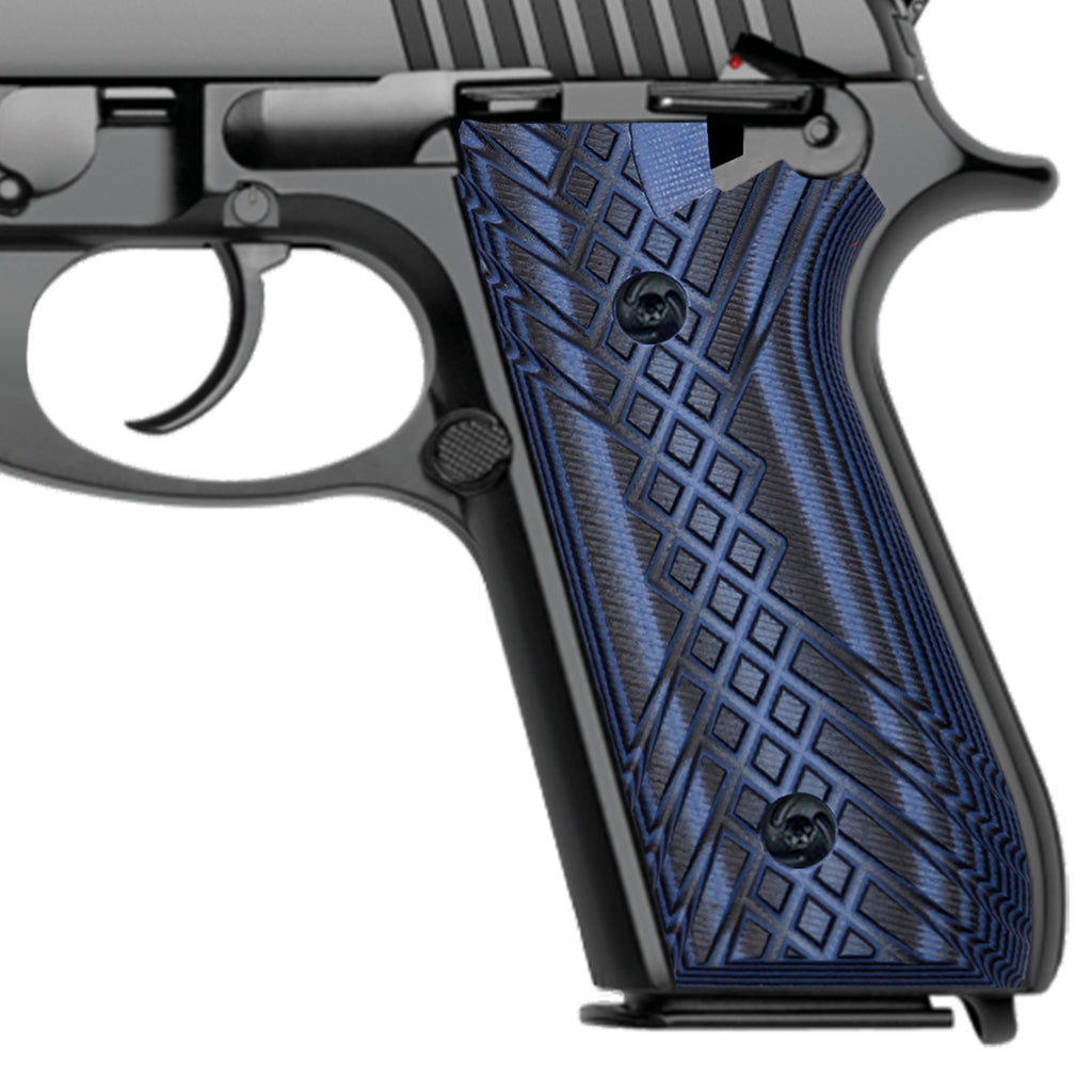 G10 Grips for Taurus PT92 Grip Compatible with PT 92/99/100/101 and Decocker Crosshatch Texture - T2-JX - Guuun Grips