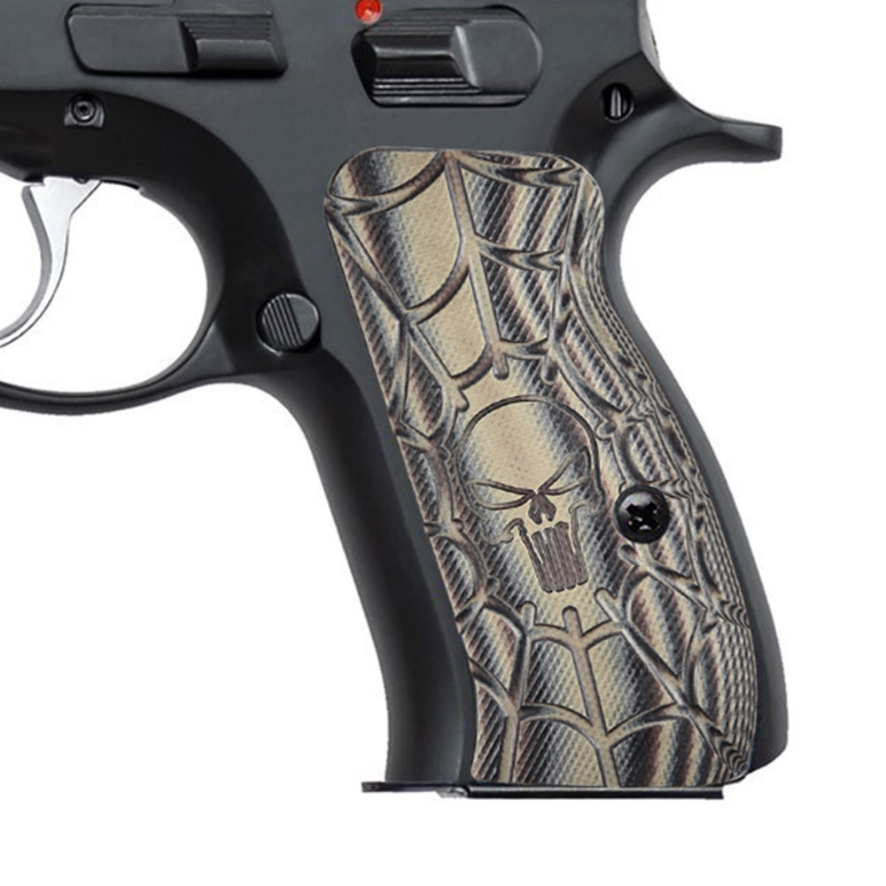 Guuun CZ 75 Compact Grips G10 Cobweb Punisher Skull Texture H6C C - Guuun Grips