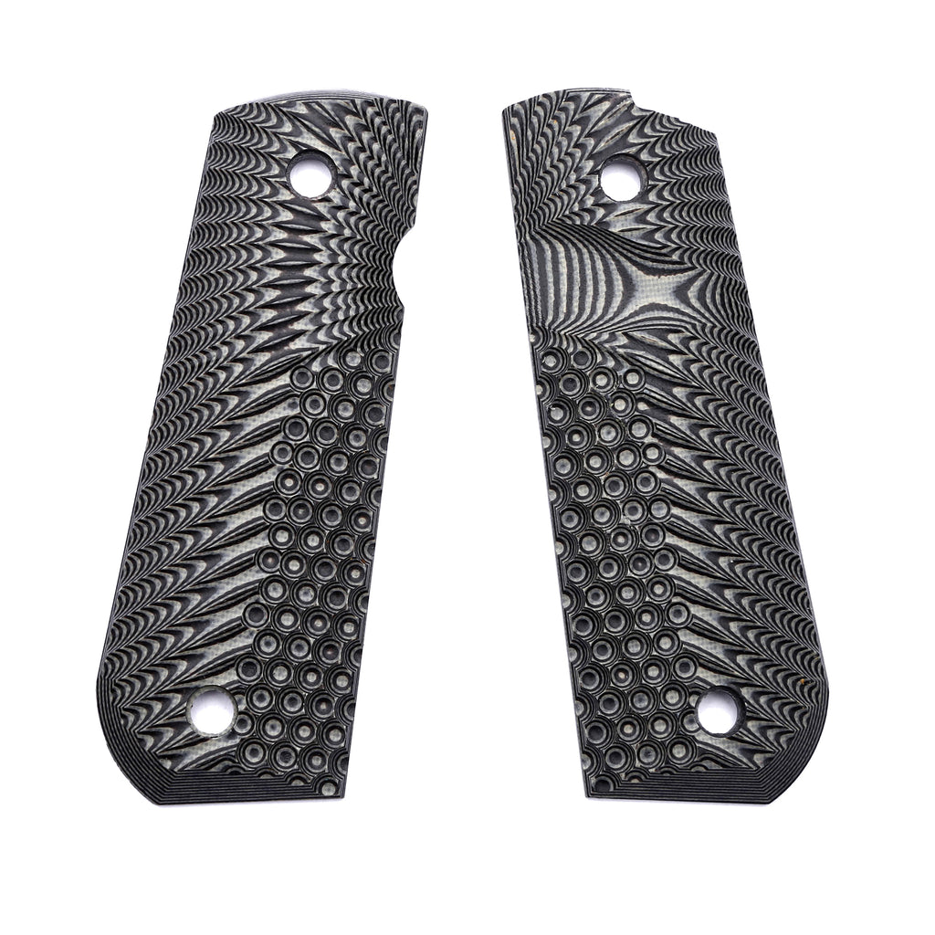Guuun 1911 Grips G10, Full Size Government Grips, Bobtail Round Butt Cut, Eagle Wing Golf Texture H2 A - Guuun Grips