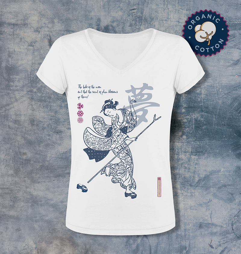 T-shirt manches courtes col en V Motif Dream light Harunobu