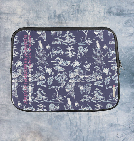 Housse protection ordinateur Motif Hokusai Navy