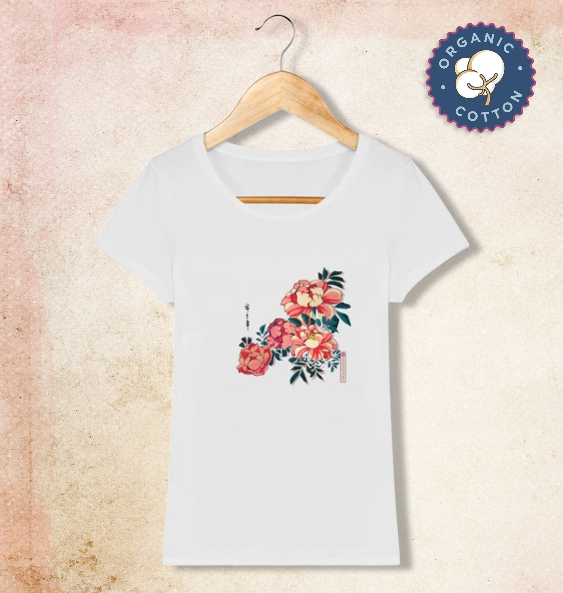 T-shirt col rond manches courtes Motif Wild Roses