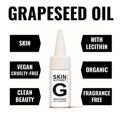 skin alphabet, rapeseed and oil in lecithin