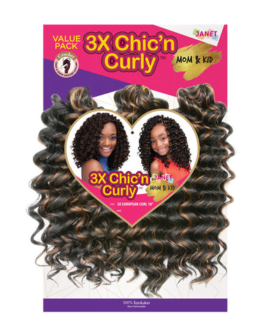 "Janet 3x European Curl 10"" Crochet Hair"