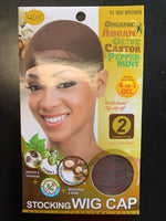 Organic Argan + Olive Oil & Castor Oil + Peppermint Wig Caps (Brown)