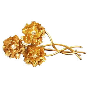SOLD Golden Flower and Diamond Brooch