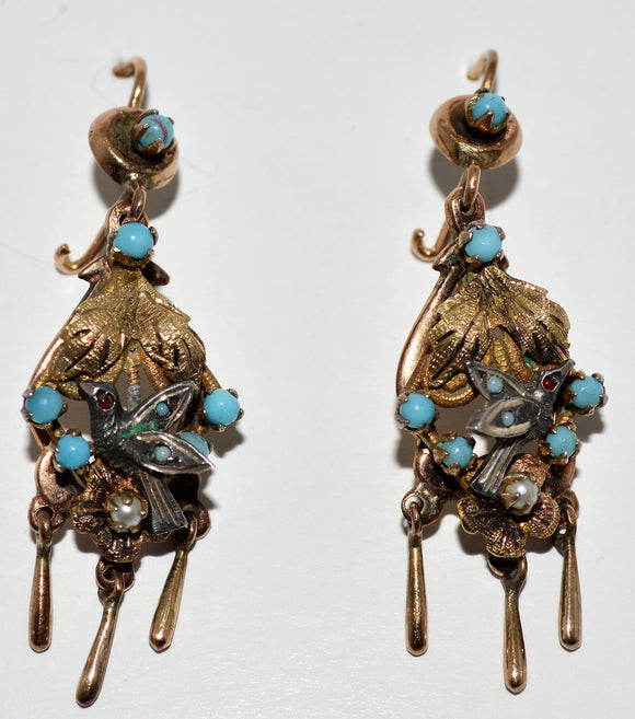 Turquoise and Pearl Bird Earrings