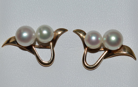 Yellow Gold Cultured Pearl Earrings