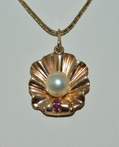 Gold Pearl and Ruby Pendant