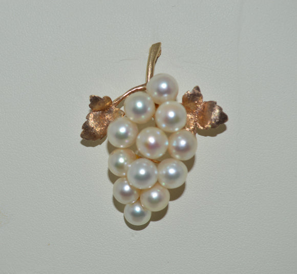 Gold and Cultured Pearl Brooch