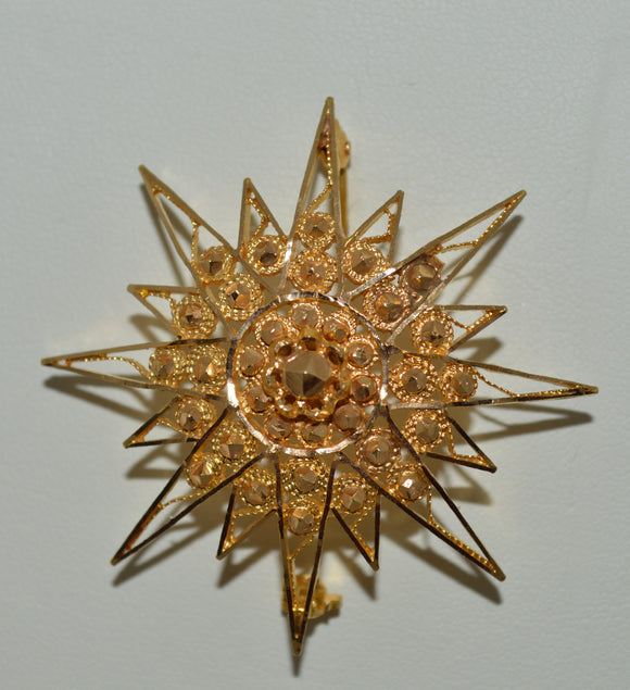 Gold Starburst Brooch/Pendant