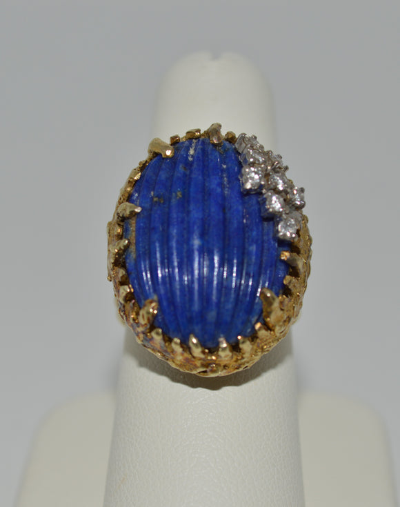 Gold Carved Lapis