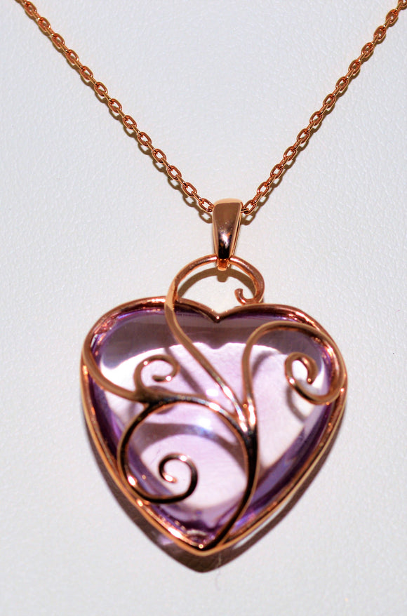 Rose Gold and Amethyst Heart Pendant