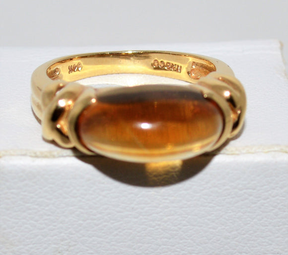 Cabochon Citrine and Gold Ring