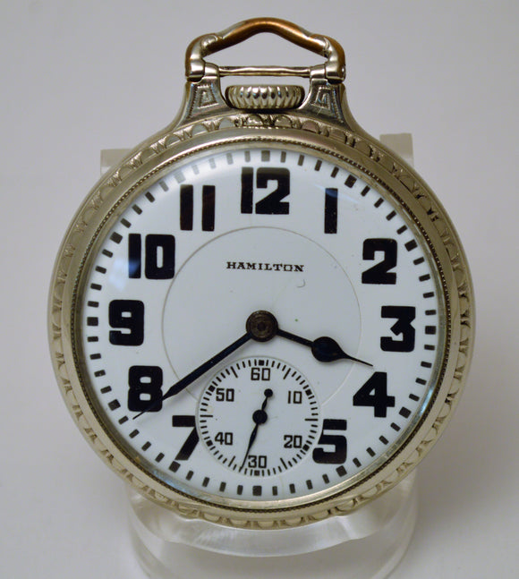White Gold Filled Hamilton Pocket Watch