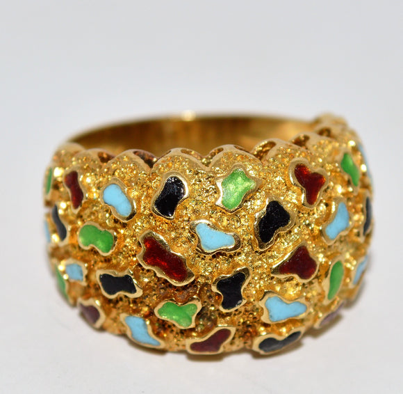 Vibrant Colorful Enamel Ring