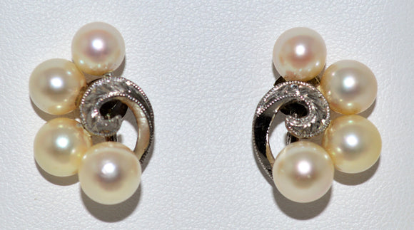 White Gold Cultured Pearl Earrings