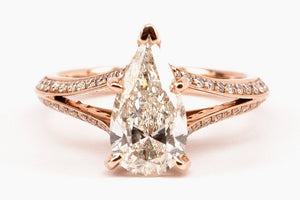 Pear Shape Pave Diamond Ring
