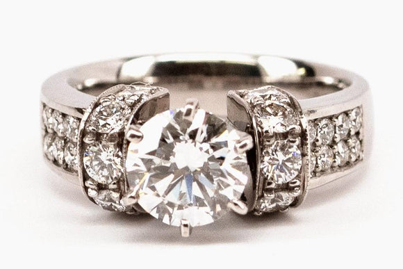 Pave Shoulder Diamond Ring