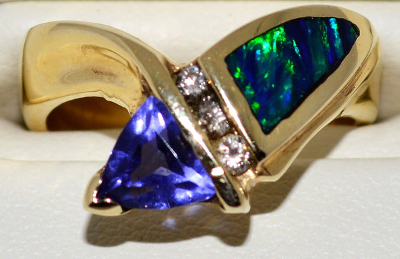 Opal Tanzanite and Diamond Ring