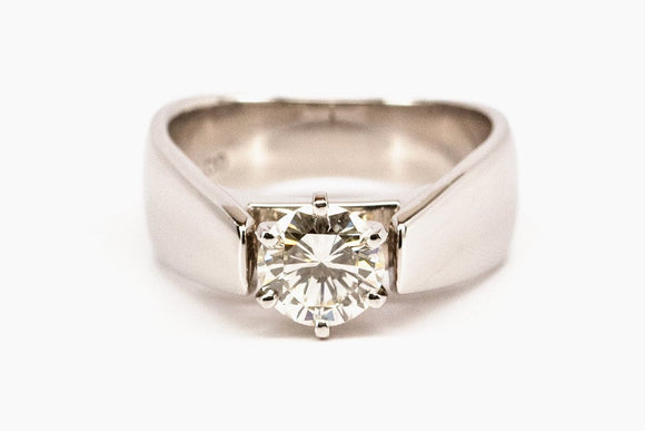 Wide Euro Shank Solitaire Diamond Engagement Ring