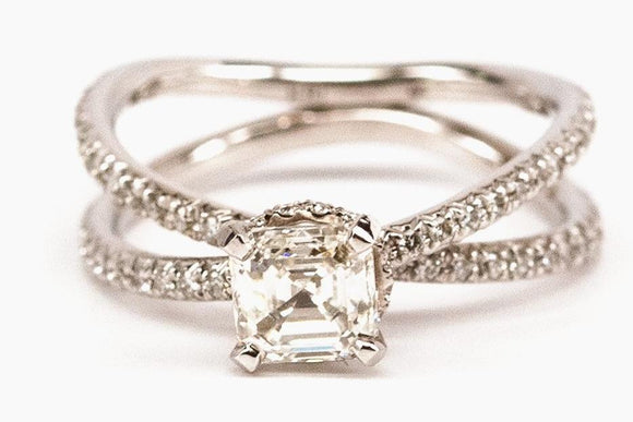 Asscher Cut Criss-Cross Pave Band
