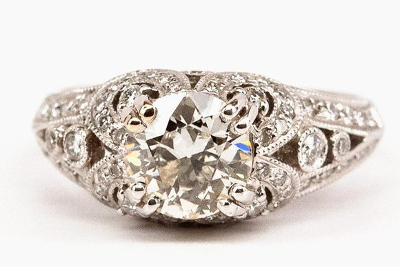 1.31ct Old European Cut Filigree Engagement Ring