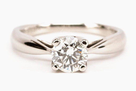 1 Carat Diamond and Platinum Engagement Ring