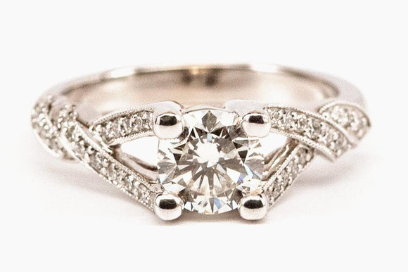 Pave Twist Diamond Engagement Ring