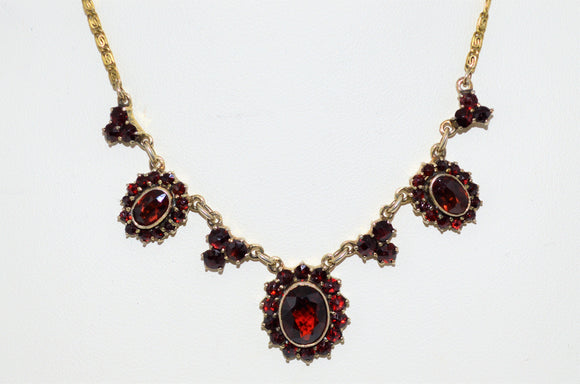 Bohemian Garnet Cluster Necklace