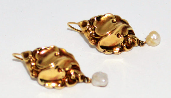 Art Nouveau Swirled Gold Earrings with Pearls