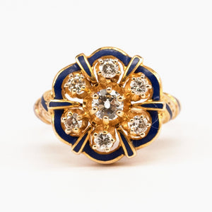 Late Victorian Reproduction Starburst and Enamel Ring