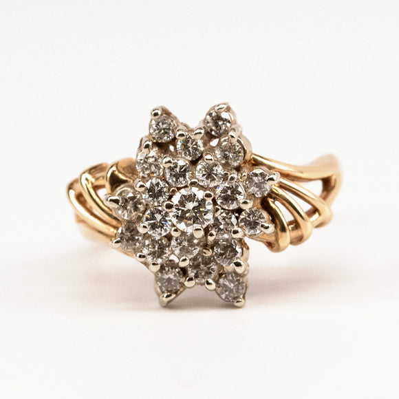 Bold Diamond Cluster Ring