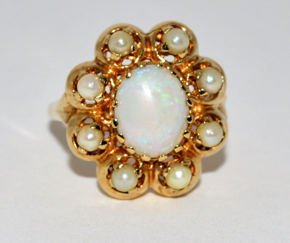 Opal and Cultured Pearl Ring