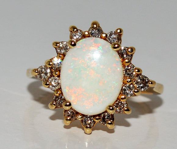 Opal with Diamond  Ring