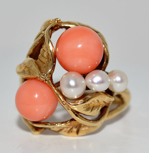 Gold Leaves with Pearls and Coral