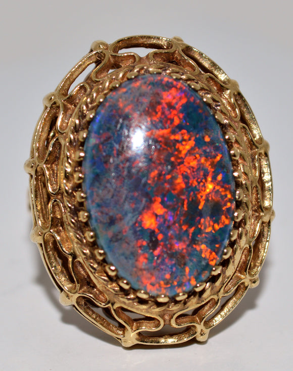 Gold Opal Triplet Ring