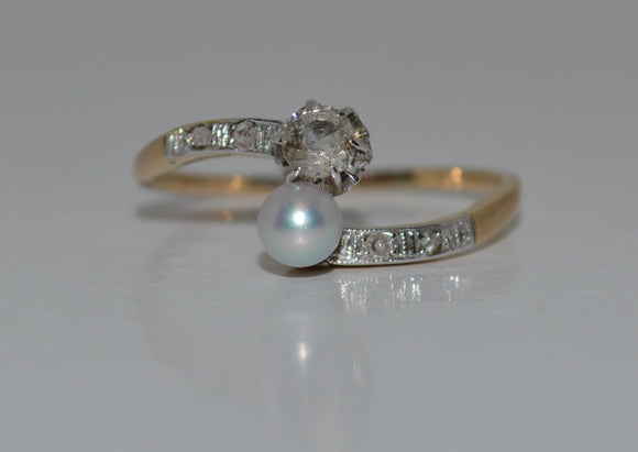 Old Miners Cut Diamond and Cultured Pearl Bypass Ring
