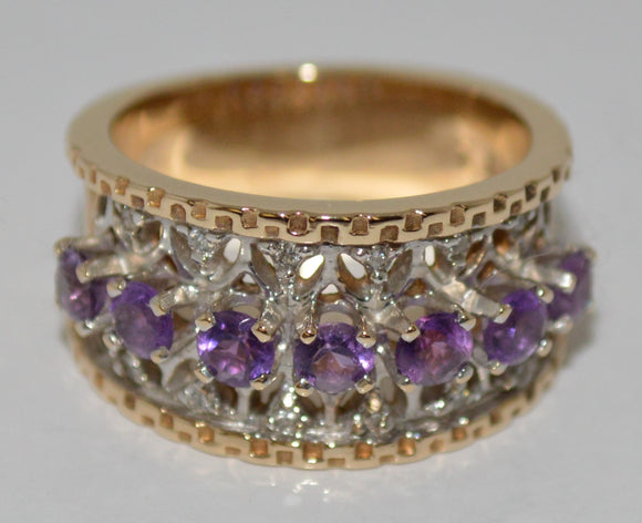 7-Stone Amethyst and Diamond Ring