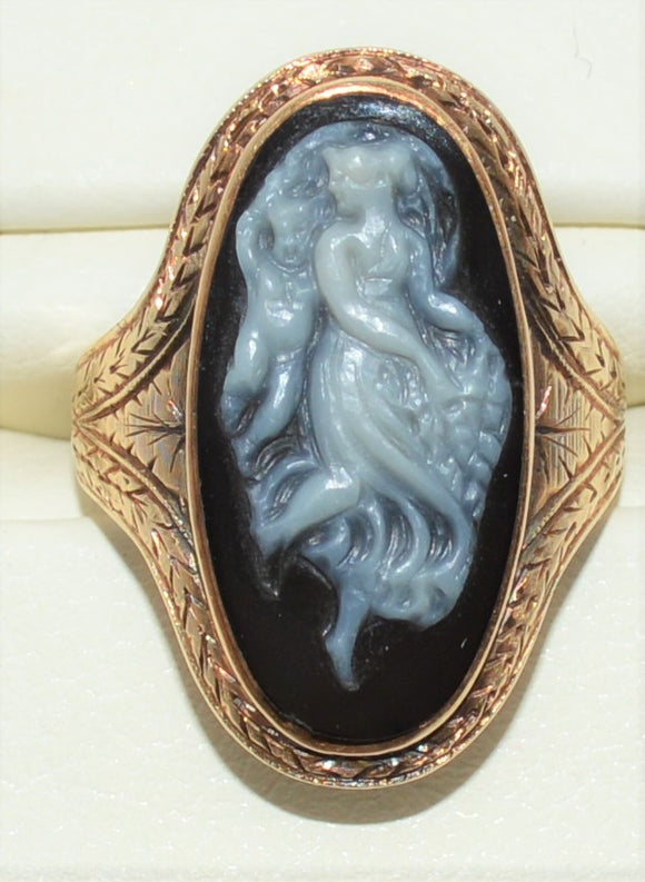 SOLD Victorian Agate Cameo Ring