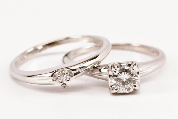 SOLD .49ct Diamond Engagement Ring Set with Solitaire Wedding Band