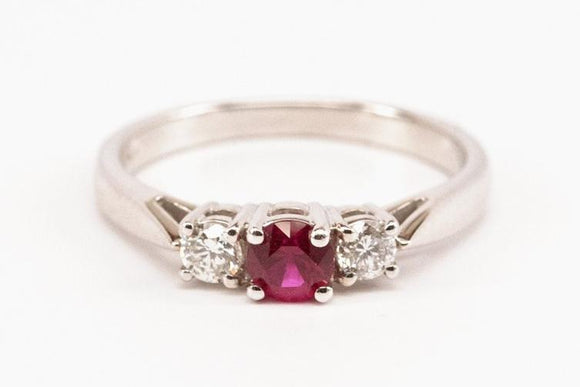 .35ct Ruby and Diamond Three Stone Ring