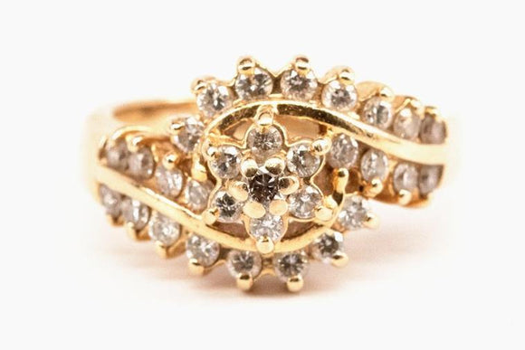 Vintage 1ctw Diamond Cluster Ring