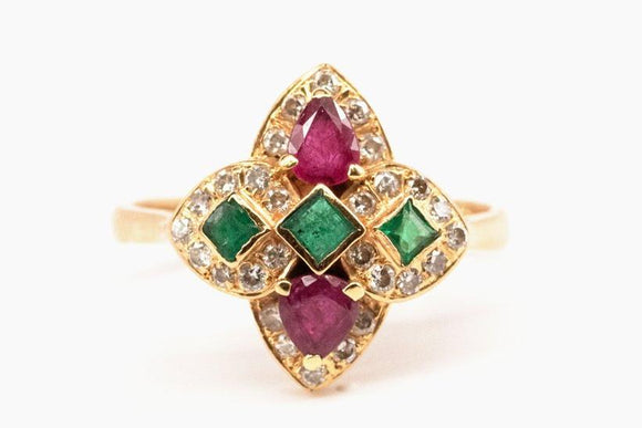 Ruby, Emerald and Diamond Quatrefoil Ring