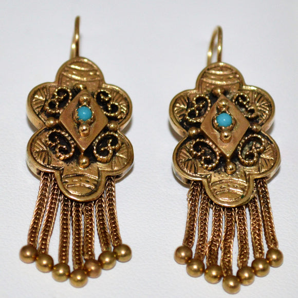 Gold and Turquoise Dangle Earrings