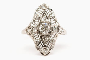 SOLD Platinum Art Deco Navette Shape Diamond Ring