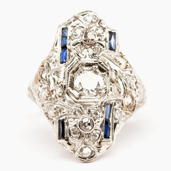 Edwardian Diamond and Synthetic Sapphire Floral Cocktail Ring