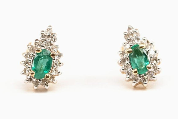 Emerald with Diamond Halo Stud Earrings SOLD