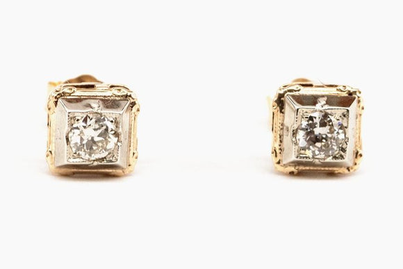 SOLD Art Deco Diamond Stud Earrings