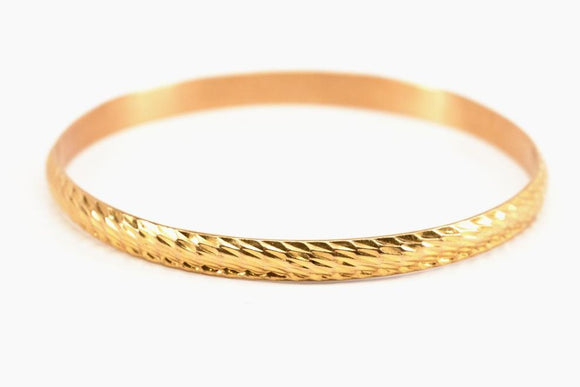 18K Gold Textured Bangle